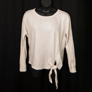 Lucky Brand Tie Front Top HEART ON SLEEVE L 0605X